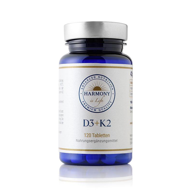 Vitamina D3 plus K2 (120 tabletas) Harmony is Life