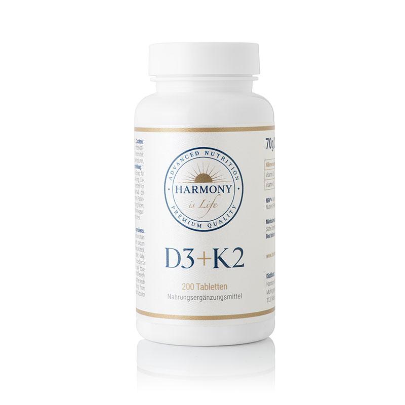Vitamins D3 + K2 (200 tablets) Harmony is Life